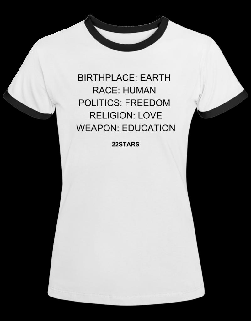 T-SHIRT EARTH HUMAN FREEDOM LOVE EDUCATION